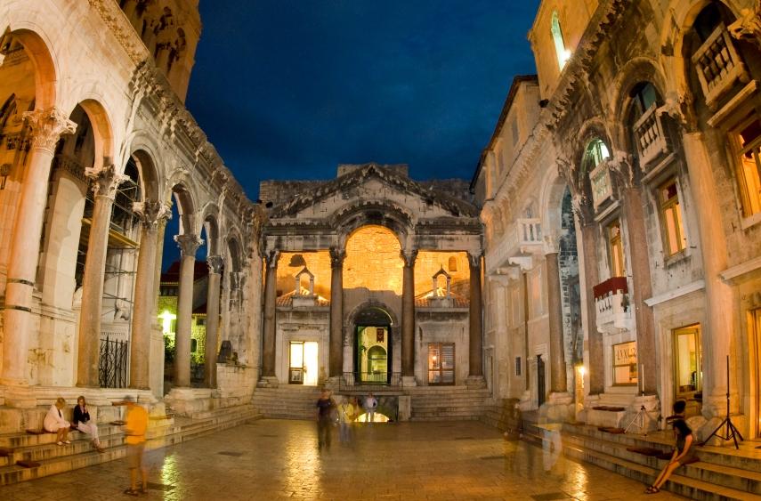 Diocletian's Palace at dusk.